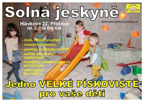 Solná jeskyně Přeštice - jedno VELKÉ PÍSKOVIŠTĚ pro vaše děti + text
